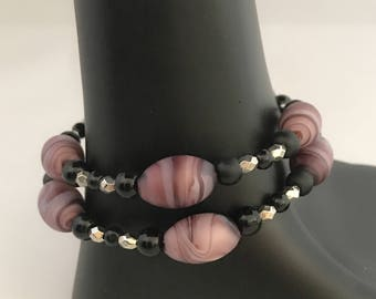 Purple beaded bracelet, black beaded bracelet, purple bracelet, black bracelet, purple wrap bracelet, purple memory wire bracelet