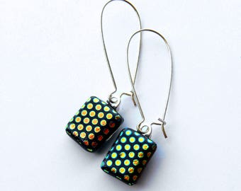 Polka Dot Earrings, Long Dangle Earrings, Blue Green Red Earrings, Dichroic Glass Earrings, Fused Glass Jewelry, Kidney Hook Earrings