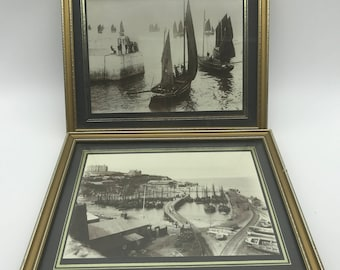 Newquay Harbour Cornwall  vintage photographs x2 27 cm wide great for home or pub refurb