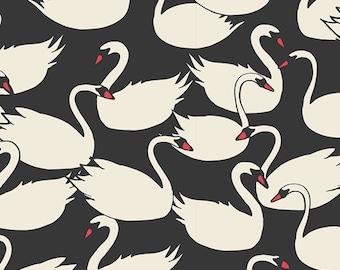 Swan fabric - Art Gallery Fabrics Hello Ollie Swanlings Night organics