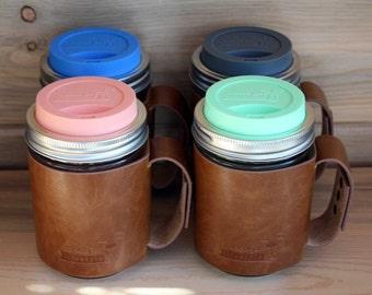 Faux Leather Sleeve with Handle for Wide Mouth Pint Mason Jars * Mason jar cozy * Turn jar into travel mug