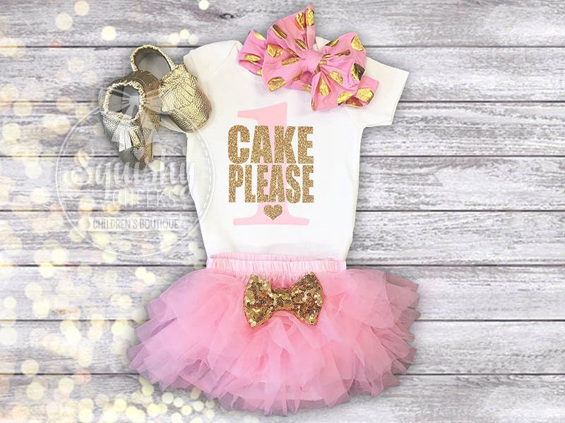 Cake Please Pink And Gold 1st Birthday Outfit Smash Cake