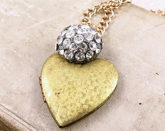 Vintage Heart Locket Necklace with Vintage Rhinestone Button