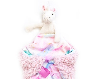 Unicorn Lovey. Animal Lovey. Unicorn Lovey. Pink Lovey. Mini Baby Blanket. Security Blanket. Lovie. Minky Lovey.