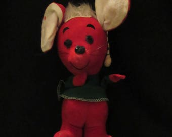 Vintage R. Dakin Dream Pets Christmas Mouse Child's Toy Figure Velveteen Fabric Sawdust Filled Made in Taiwan Collectible Stocking Stuffer