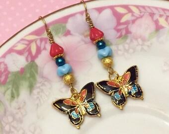 Butterfly Earrings, Cloisonne Earrings, Woodland Earrings, Floral Dangle Earrings in Blue Red Gold, Handmade by KreatedByKelly
