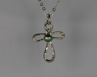 Tiny Cross Pendant, with Light Blue Freshwater Pearl, Argentium Silver, Hand Made Necklace