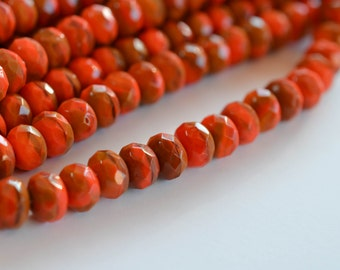 Tangerine Orange Faceted Rondelle Premium Czech Glass Beads with Picasso Finish - Fire Polished - 9mm x 6mm - Premium Czech Glass - 25 pcs
