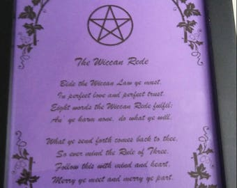 5x7 framed print of the Wiccan Rede pentagram Wicca pagan witch purple
