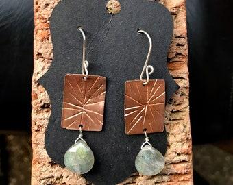 15% OFF - Etched Copper Rectangle - Labradorite Briolette - Sterling Ear Wires