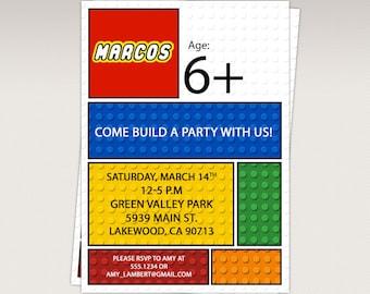Building Brick Blocks Birthday Party printable invitation -  Birthday Party Invitation #400