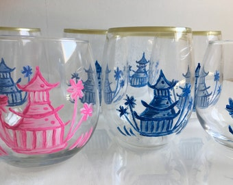Painted  Stemless Wine Glasses  - Chinoiserie Pagodas in  Blue & Pink