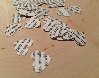 Edgar Allan Poe / 200 pack / Book Page Heart Confetti / Literature / Book Worm / Book Lover / Party / Wedding / Baby Shower