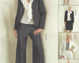 Womens Lined Jacket, Ruffled Top, Pencil Skirt & Flared Pants OOP McCalls Sewing Pattern M5336 Size 14 16 18 20 Bust 36 38 40 42 FF