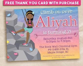 Printable Birthday Invitation Rock Climbing Party Girl Climber 5x7 hiking.  FREE Gift Tag!
