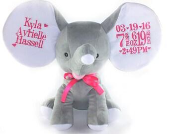 Baby Shower Gift - Personalized Stuffed Animal - Baby Keepsake -Dumble elephant - Cubbie - Personalized Elephant - Baby gift - Unique Gift