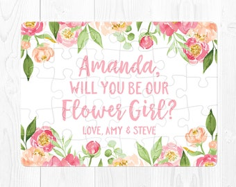 Flower Girl Proposal Will You Be My Flower Girl Gift Pink Flower Girl Puzzle Proposal Pink Flower Girl Card  Flower Girl Proposal Peach Cute