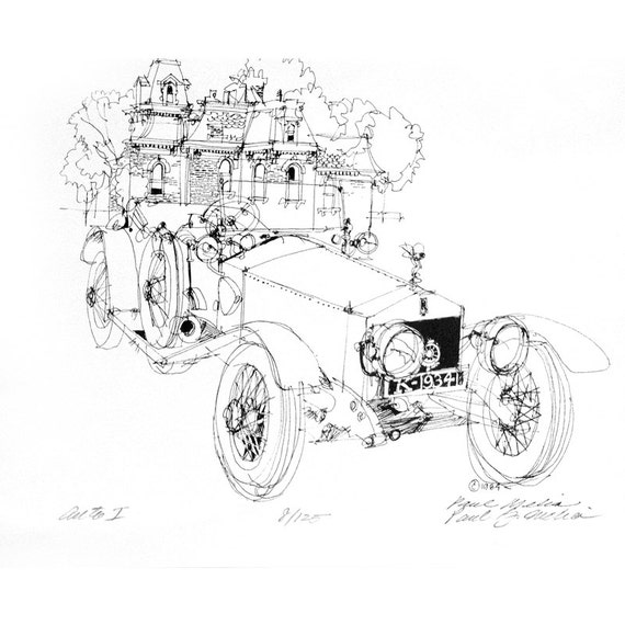 NO. L-7 Auto 1 Antique Car Drawing Print Pen and Ink Line