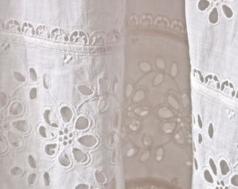 Czech Skirt White Cotton Petticoat Art Nouveau Eyelet Lace Trim Edwardian
