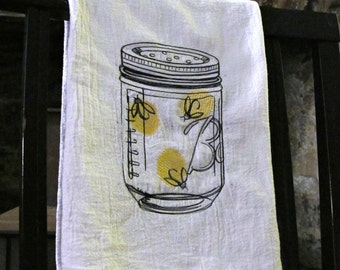 Firefly Lightening Bug Mason Jar Embroidered Flour Sack Towel