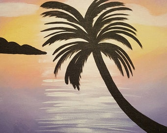 Acrylic Painting: Palm at Sunset