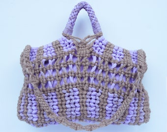 Jute, Linen, and Silk Chiffon Market Bag - Lavender