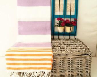 Lilac and Orange Stripe Turkish Towel,Lilac Cotton Towel,Lilac Towel,Lilac and Orange Striped Peshtemal,Lilac Stireped Beach Towel,Peshtemal