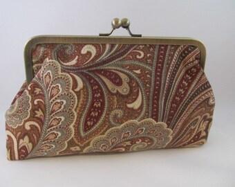 Paisley Clutch Purse-Purse-Handbag-Kisslock-8 inch-Brown
