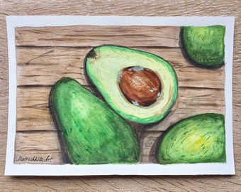 Original watercolor painting Avocado Original aquarelle illustration Gift Home decor Painting