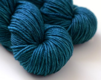 Hand Dyed Merino Wool Yarn - Zenith - Dark Semi-Solid Blue