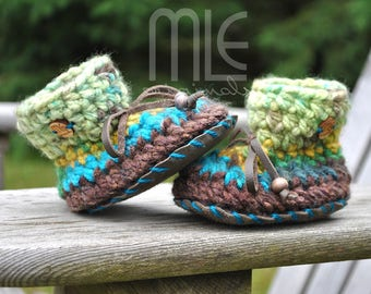Buried Treasure Nonslip Mocs by MLE Originals, Gender Neutral Baby Booties with Leather Sole, Handmade Slippers, Crochet Knit Baby Mocassin