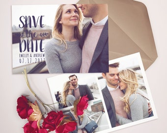 Save the Date Template for Photographers, Save the Date Card Announcement, Engagement Photography - Photoshop Templates - SD002
