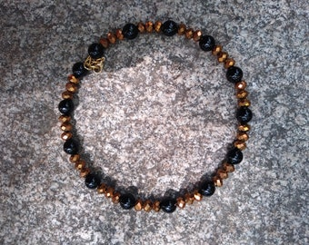 Copper and Black Beaded Memory Wire Choker Necklace