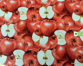 """One Yard Cut of Quilt Fabric, Red Apples, Some Whole Some Cut in Half """"Farmers Market"""" from RJR Fabrics, Sewing-Quilting-Craft Supplies"""