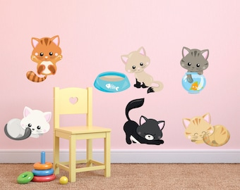 Kitten Wall Decals, Kids Fabric Wall Decals, Cats wall decal, Removable, Reusable Kittens Fabric Decal, Kittens , Kids wall decals