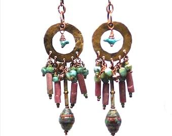 Gypsy Boho Cluster Beaded Earrings with Tiny Birds in Hoop, Bohemian Dangle Earrings Funky Unique Tribal OOAK