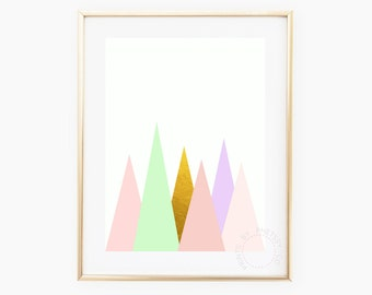 Pink mountains, pastel mountains, abstract print, pastel gold mountains, Kids Wall Art, Nursery Art,  printable mountains, instant download