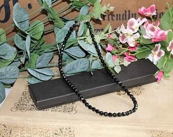 Vintage Black Bead Necklace/Jet Black Necklace/Bead Necklace/SALE(Ref1640V)