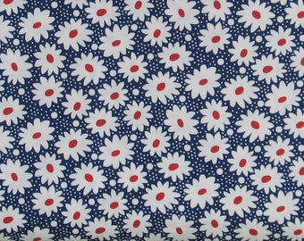White and Red Flowers on Navy Blue 100% Cotton Quilt Fabric, Hi-De-Ho!, a Kim's Cause Collection by Maywood Studios, Reproduction, MAS9137-N