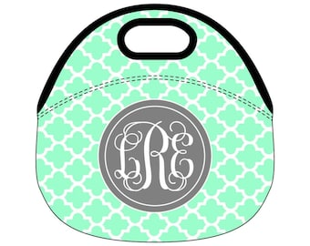 Monogram Lunch Bag, Monogrammed Lunch box, Personalized Lunch Tote, lunchbox, Moroccan