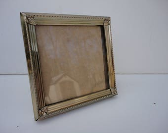 Vintage square 3 by 3 gold metal frame, small photo frame, picture frame, mid century, tabletop, school picture, tiny frame