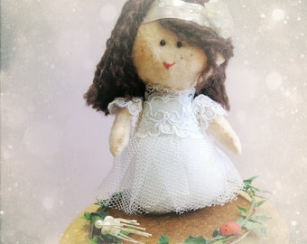 Personalized Cake Topper for your kid party - Birthday, Baptism, Religious Communion or Confirmation - Personalized OOAK doll made in France