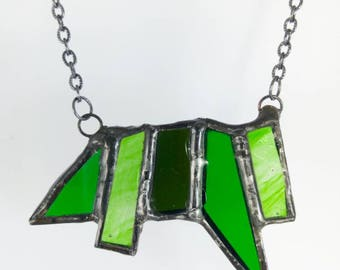 Green stained glass necklace