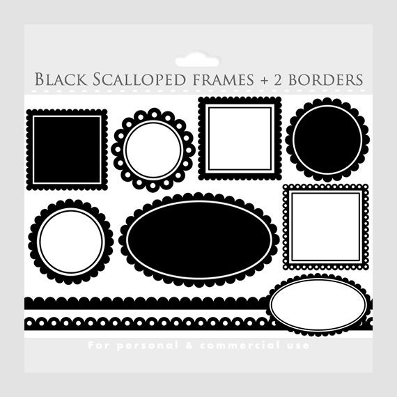 Black Scalloped Frames Clipart