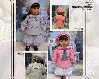 "PDF Pattern KDD13 ""Reefer Jacket & Hat"" -An Original KeepersDollyDuds Design, Makes 18"" Doll Clothes"
