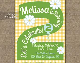 Daisy 2nd Birthday Invitations, Printable Summer Birthday, Girls 2nd Birthday Party, Yellow Daisy Two Year Old Birthday Invites 2 Years