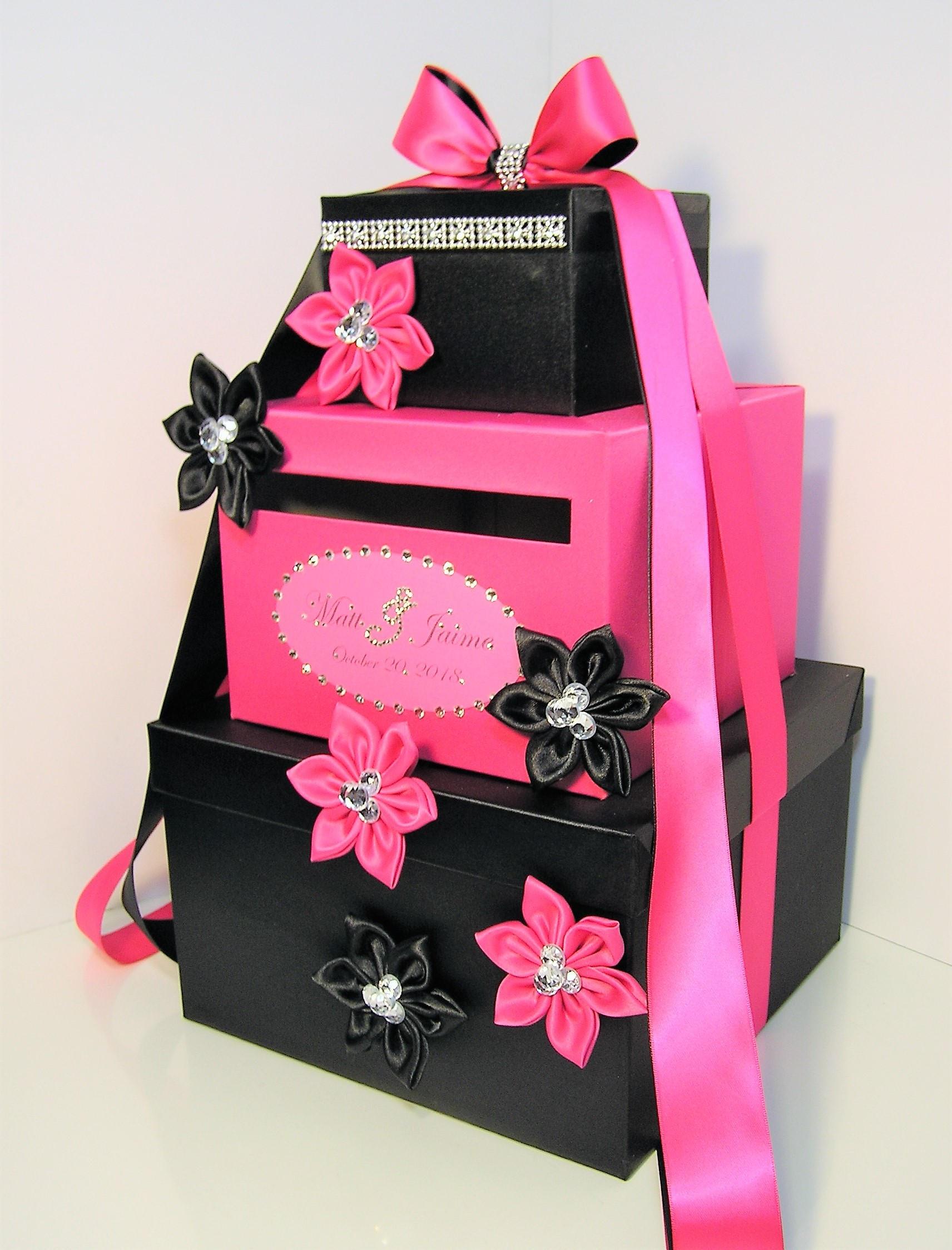 Wedding Card Box Black and Fuchsia/Shocking Pink Gift Card Box