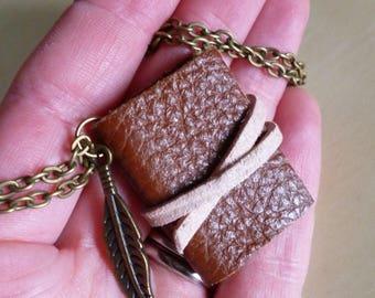 Book necklace, mini book, brown leather, feather, miniature book, book jewellery, Boho