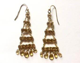 Rhinestones dangle earrings - amber color - triangle shape - gold tone