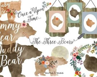 40% OFF SALE Floral bear clipart, Watercolour woodland clipart, Woodland bear clipart, Baby bear clipart, Woodland scrapbook, Woodland decor